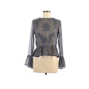 Walter Baker gray peplum embroidered top Size XS